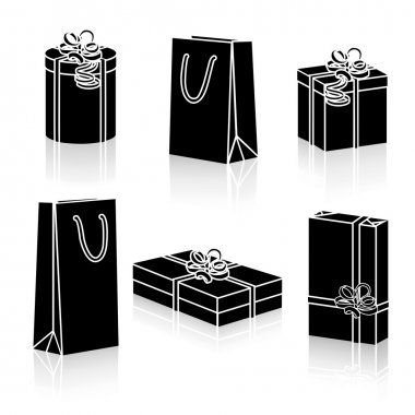 set of silhouettes gift packages for the holidays