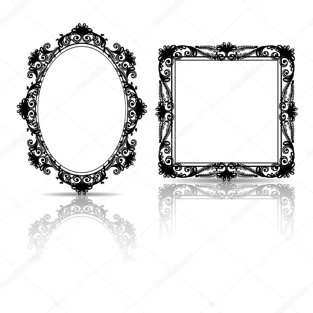silueta esculpida vintage marco para cuadro o foto — Vector de stock ...