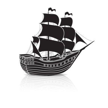 vintage sailing ship at sea with reflection