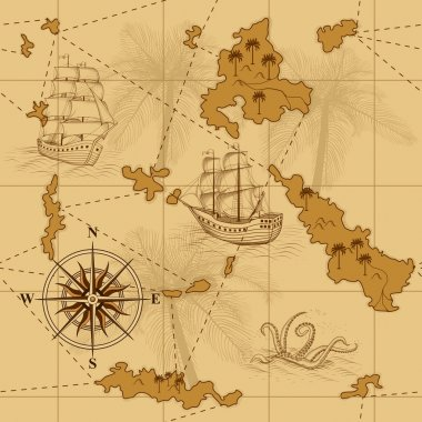 seamless old map with a compass and ships