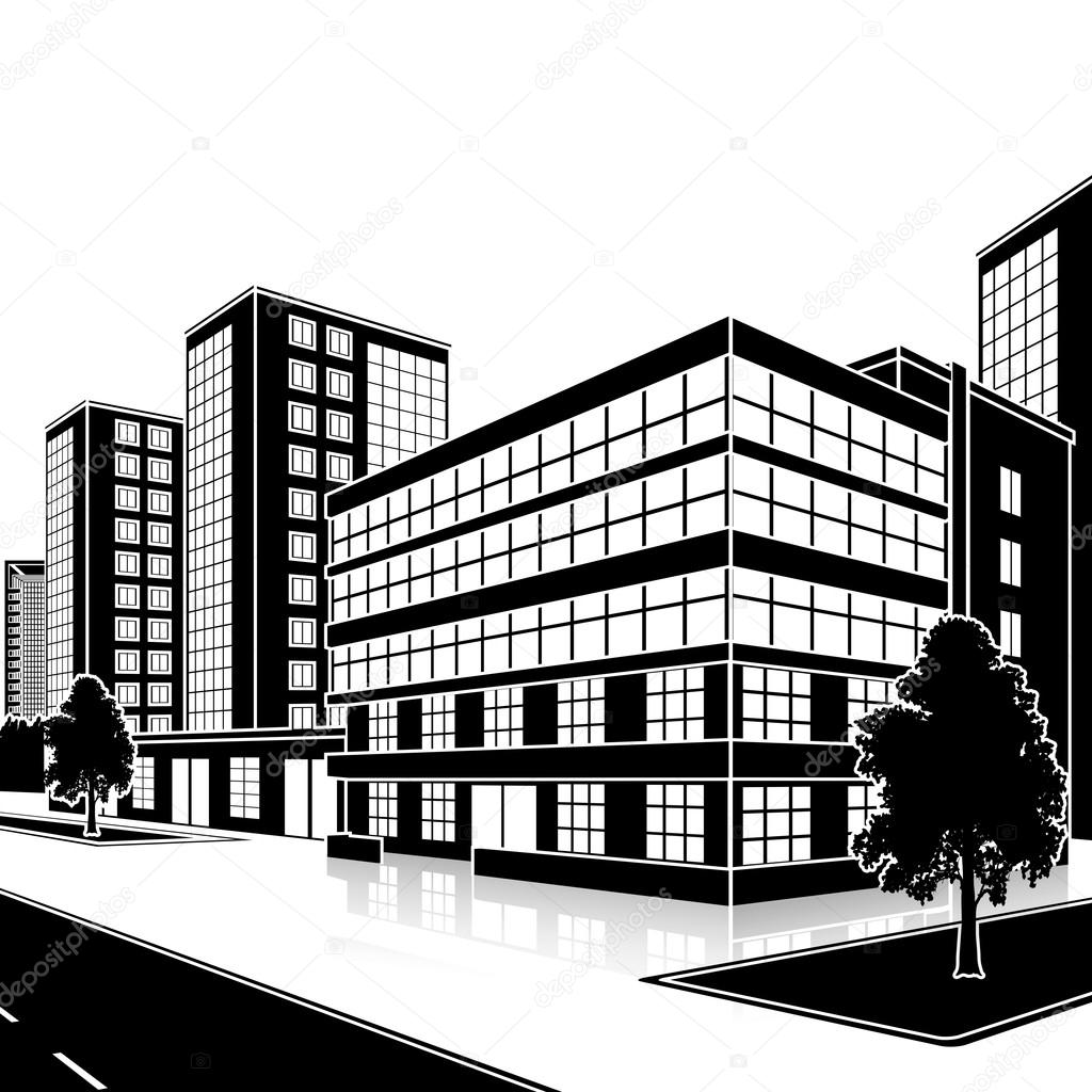 silhouette office building with an entrance and reflection