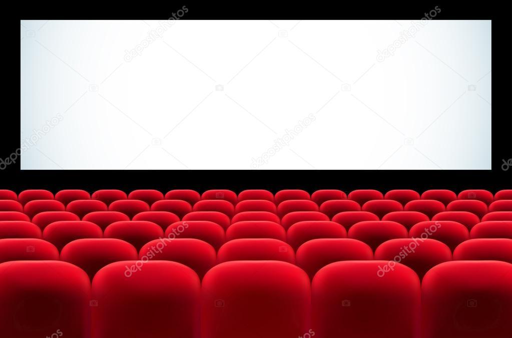 Bioscoop auditorium met rijen van rode zetels en leeg scherm stockvector - Sieges de cinema occasion ...
