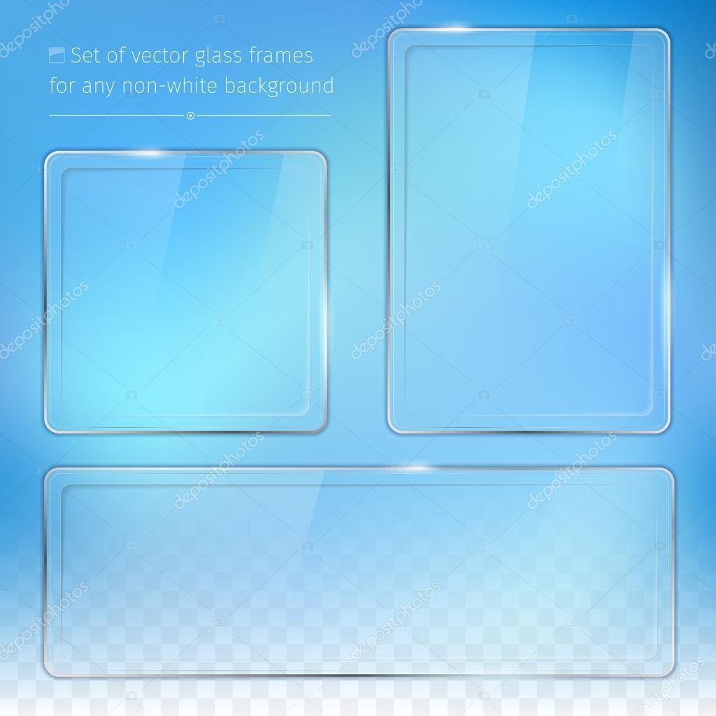Conjunto de marcos de vidrio transparente — Vector de stock ...