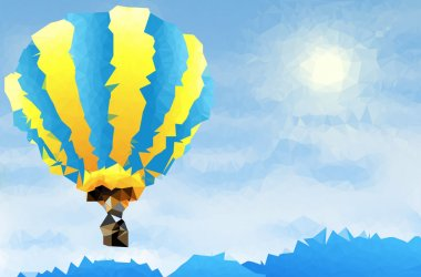 Abstract polygonal background - flying hot-air balloon