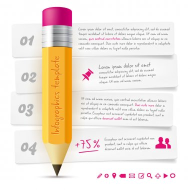 Infographics template with lead pencil and paper frames