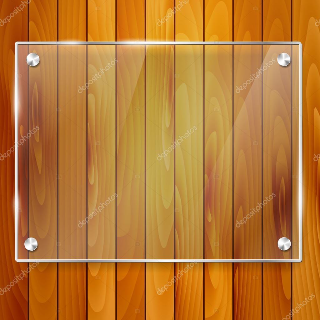 marco de cristal transparente sobre fondo de madera — Archivo ...