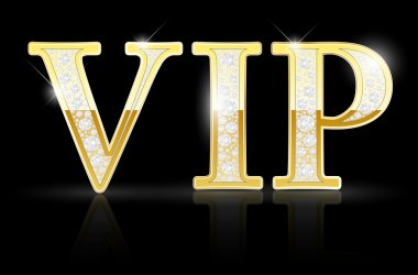 Shiny golden VIP sign with diamonds