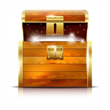 Wooden chest with glowing treasure on white background - vector illustration stock vector