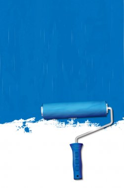 Paint roller - painting the walls blue. Vector illustration. clip art vector