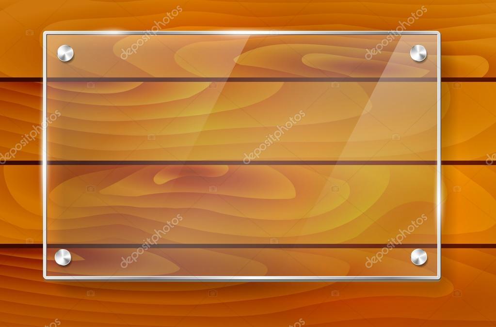 Marco de cristal brillante transparente y fondo de madera — Vector ...