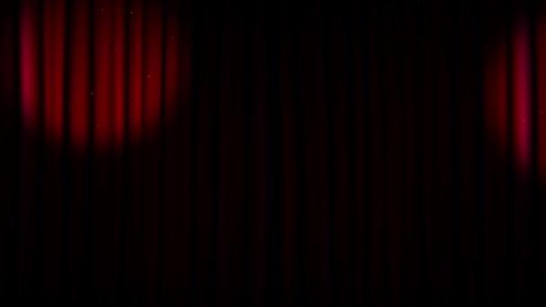 Kúp fény mozog a piros színházi függöny - hely a főcím-döntőben