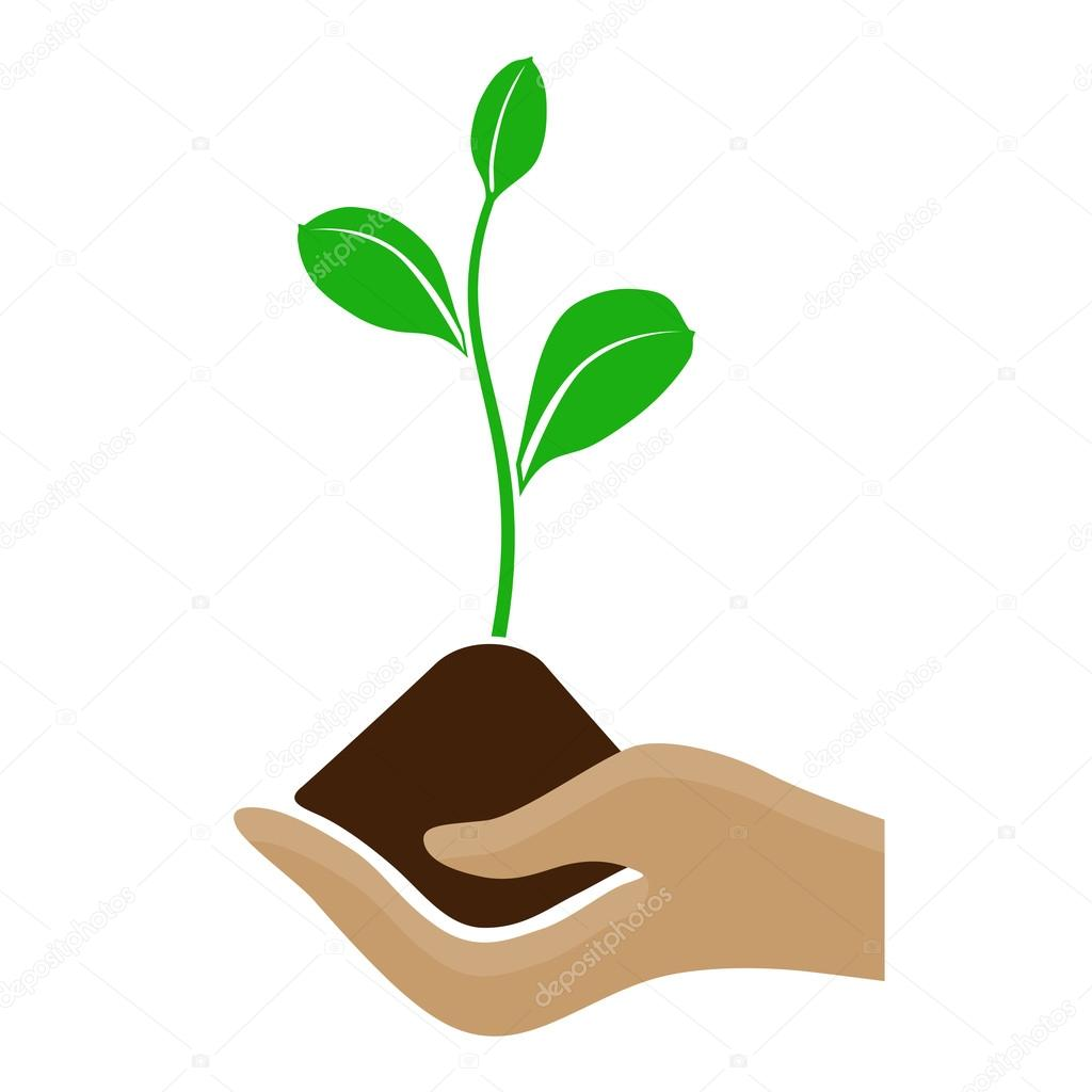 Stylized hand holding a pile of dirt and growing plant