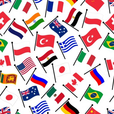 simple color curved flags of different country seamless pattern eps10