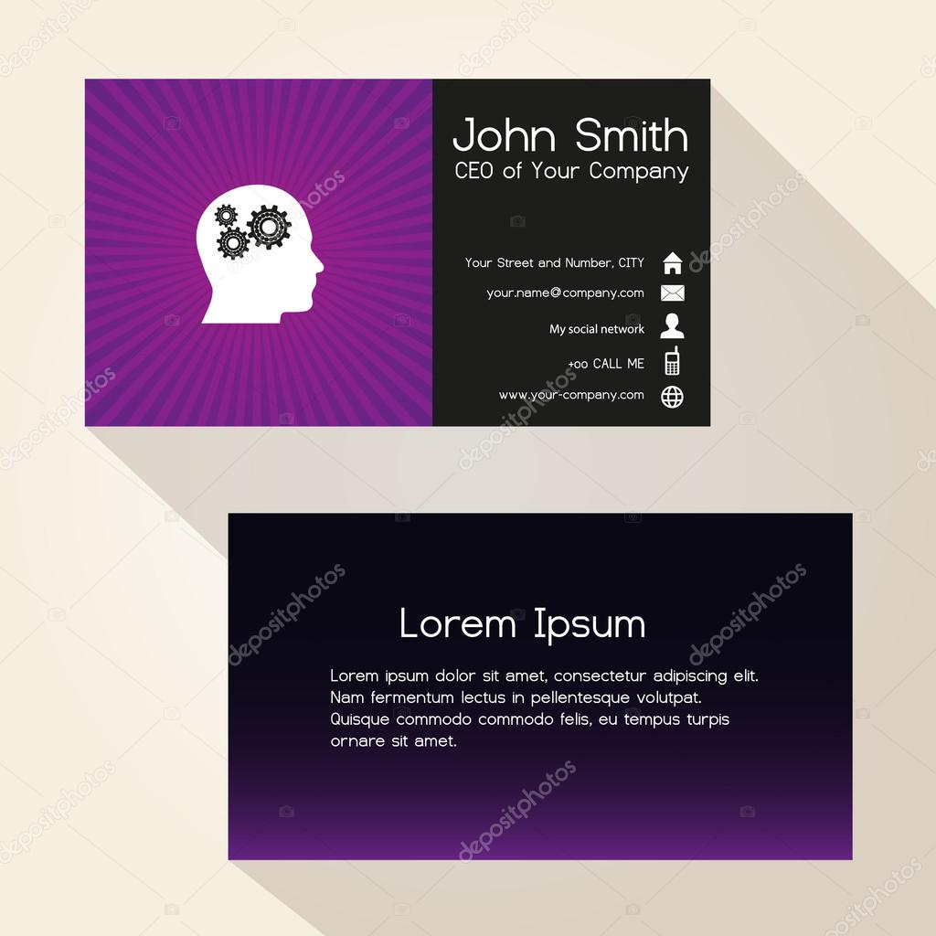 simple color gradient and stripes wheel purple business card design ...