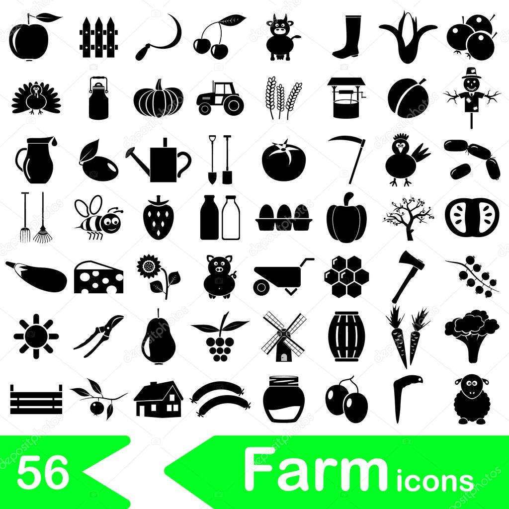 Bauernhof und Landwirtschaft große einfache Symbole eingestellt ...