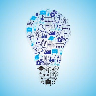 physics icons set in bulb shape eps10