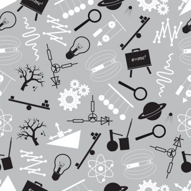 physics black and white seamless pattern eps10