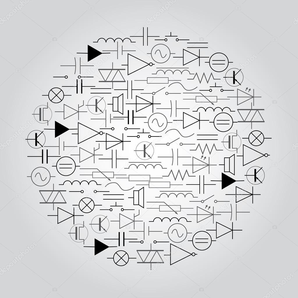 schematischen Symbole in der Elektrotechnik im Kreis eps10 ...