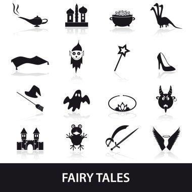 black simple fairy tales theme icons set eps10