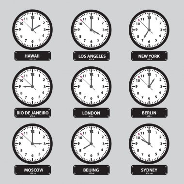 Time zones black and white clock set eps10 stock vector