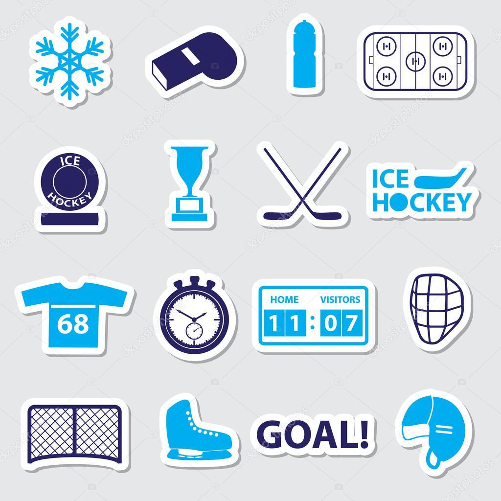Eishockey Sport Blau Aufkleber Set Eps10 Stockvektor