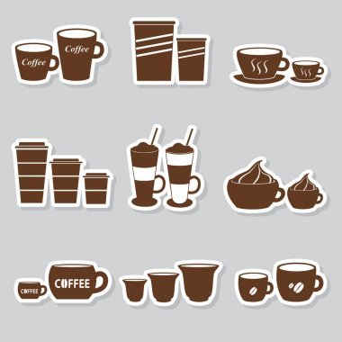 coffee cups and mugs sizes variations stickers set eps10