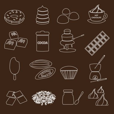 White and brown chocolate outline simple symbols set eps10
