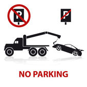 Fotografie no parking symbols with car and signs eps10