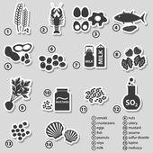Satz von typischen Lebensmittelallergene für Restaurants-Aufkleber-eps10