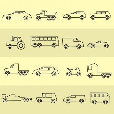 simple cars black outline icons collection eps10