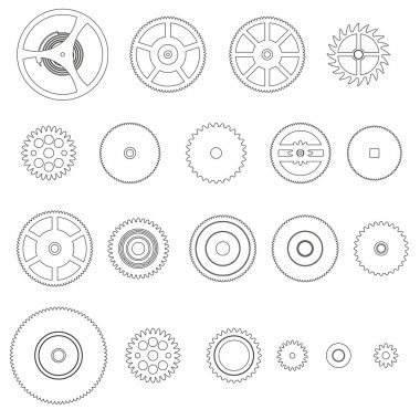 various outline cogwheels parts of watch movement eps10