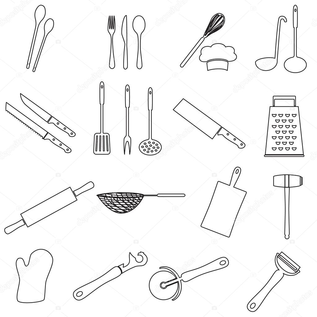 utensili da cucina di casa cucina contorni icona eps10 ... - Utensili Cucina On Line