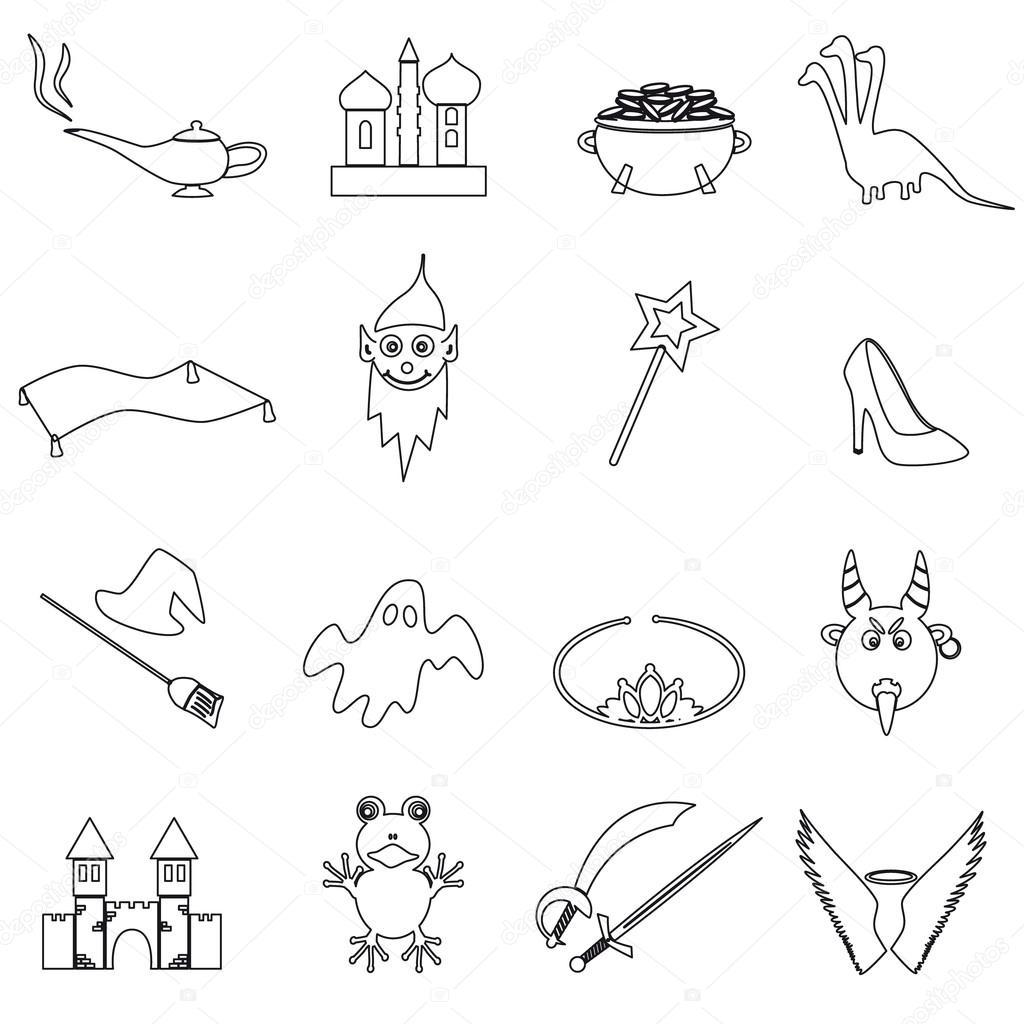 schwarze einfache Märchen skizzieren Symbole Set eps10 — Stockvektor ...