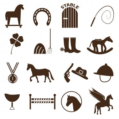 brown simple horse theme icons set eps10