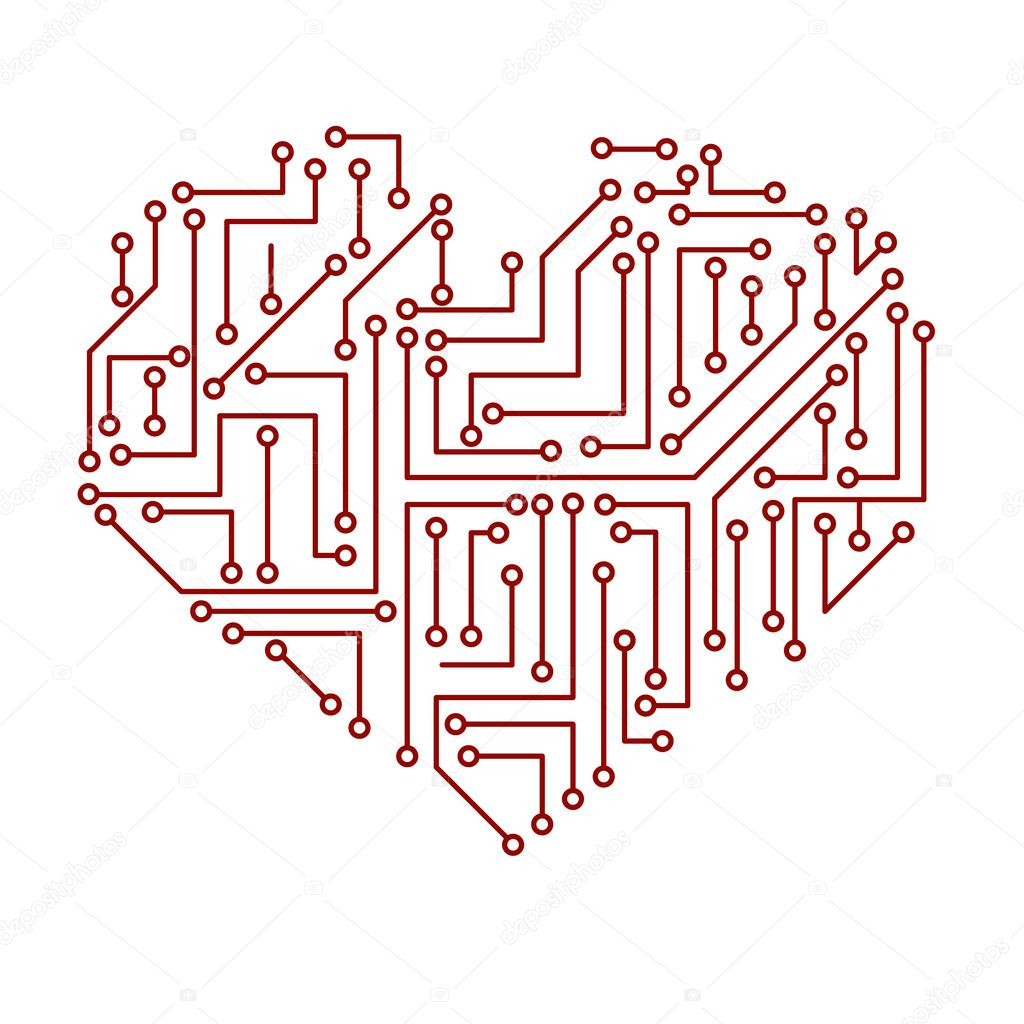 printed electrical circuit board heart symbol eps10 — Stock Vector ...