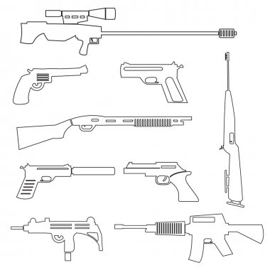 firearms weapons and guns outline icons eps10