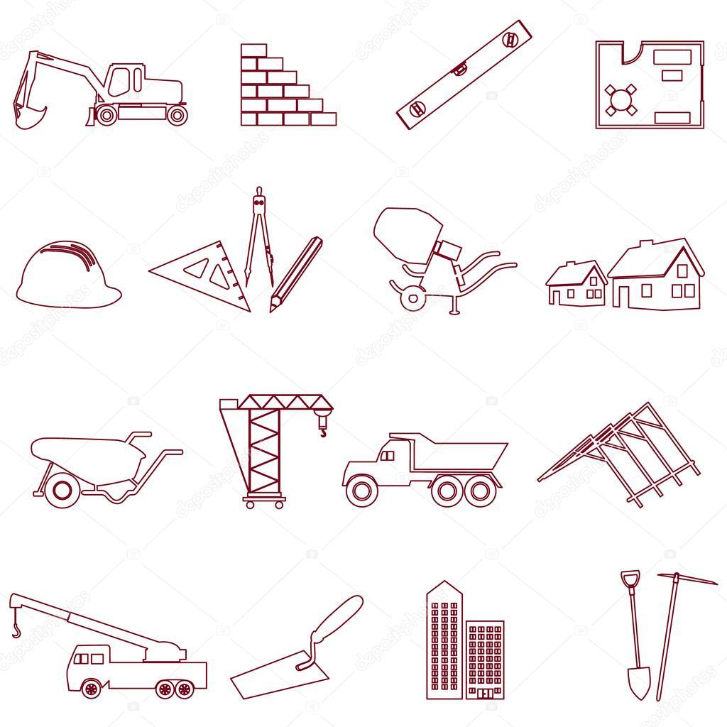 Bau und Arbeit einfache Gliederung Symbole Set eps10 — Stockvektor ...