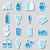 tej és a tej termék téma matrica készlet eps10