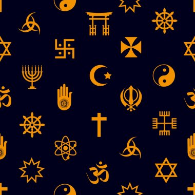 world religions symbols vector icons seamless pattern eps10