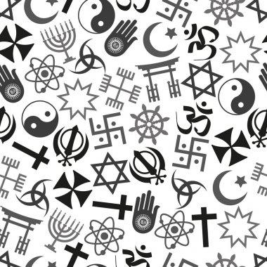 world religions symbols vector icons gray seamless pattern  eps10