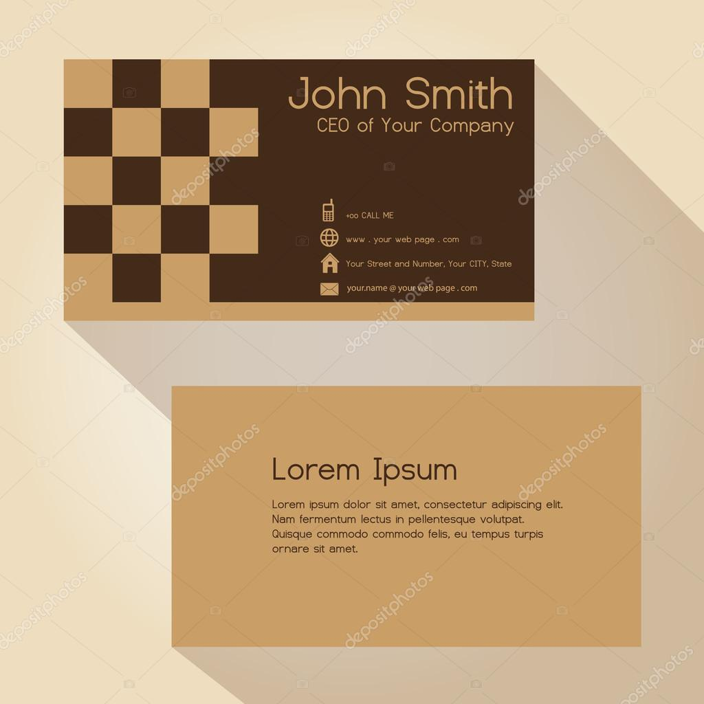 simple brown blocky simple business card design eps10 — Stock Vector ...