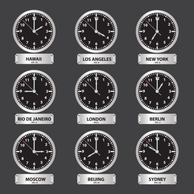 Time zones black and silver clock set eps10