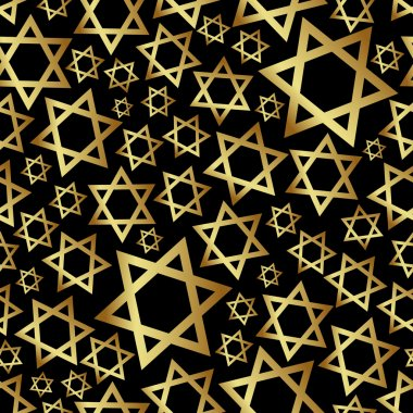 gold star of David dark religion seamless pattern eps10