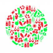 allergia és allergének piros és zöld ikonok beállítása eps10