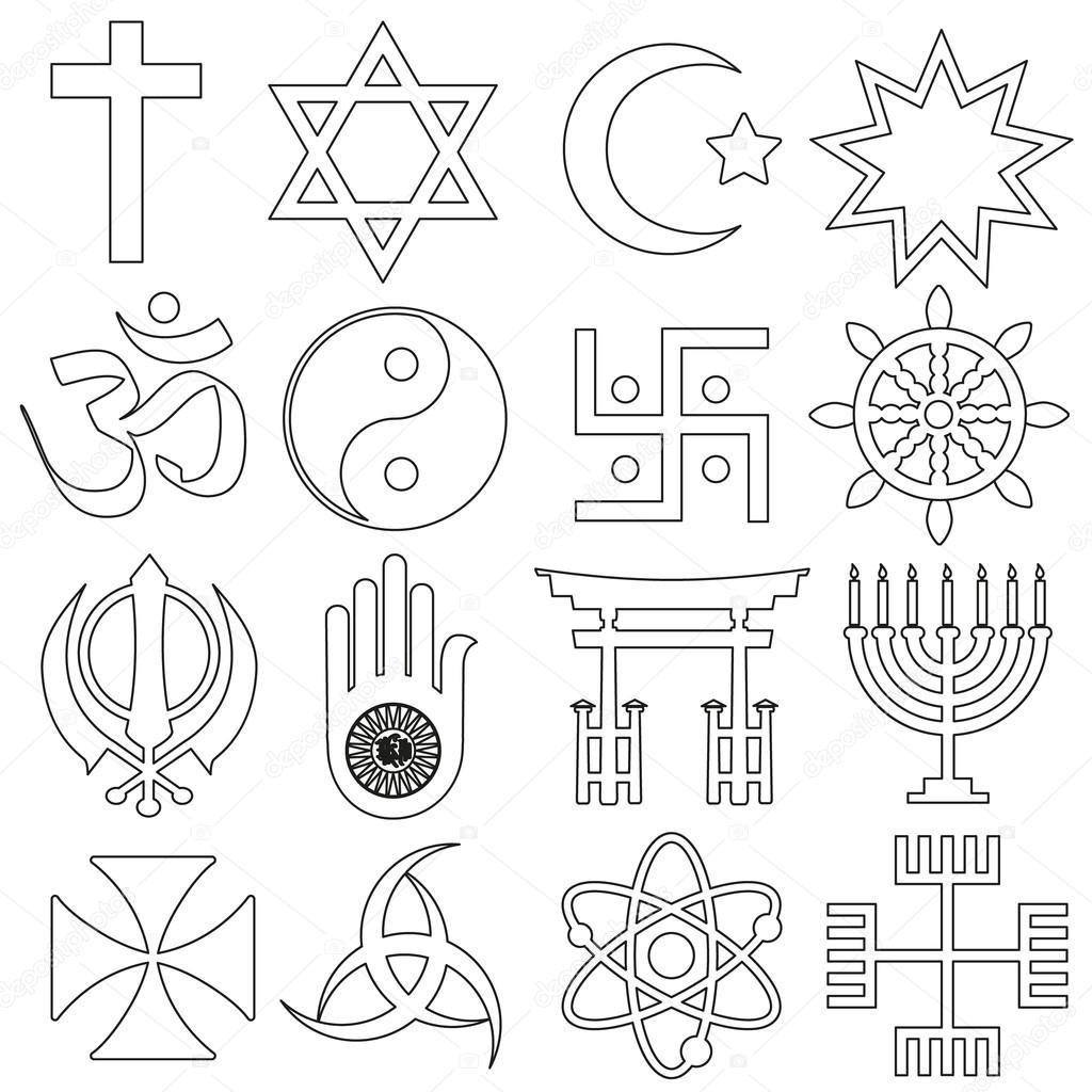 World Religions Symbols Vector Set Of Outline Icons Eps10 Stock