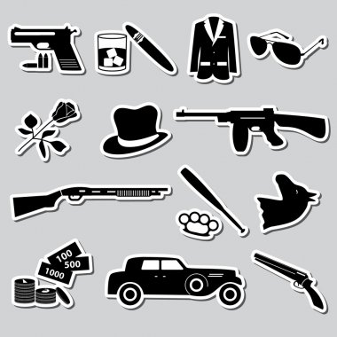 mafia criminal black symbols and stickers set eps10