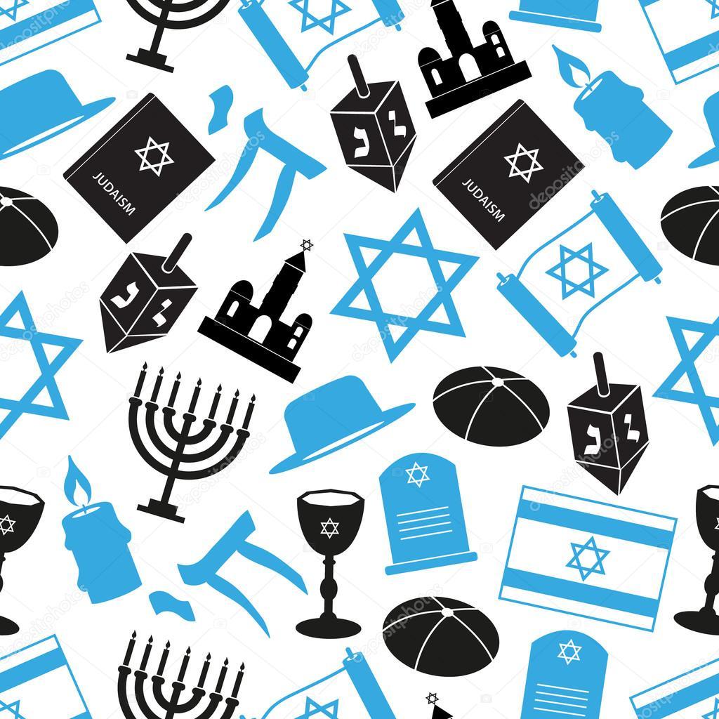 Judaism Religion Symbols Vector Set Of Icons Seamless Pattern Eps10