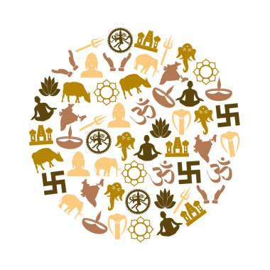 hinduism religions symbols vector set of icons in circle eps10