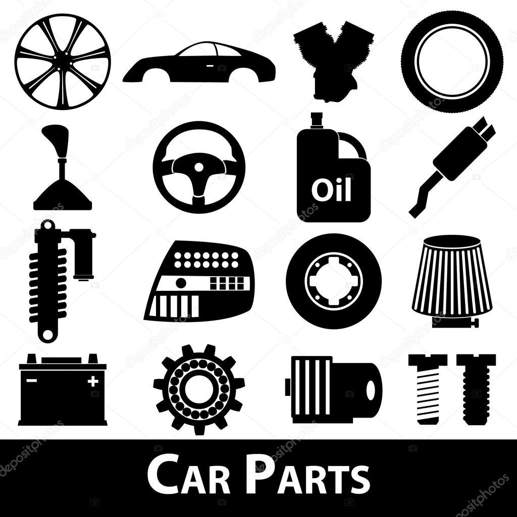 Autoteile speichern einfache schwarze Symbole Set eps10 ...