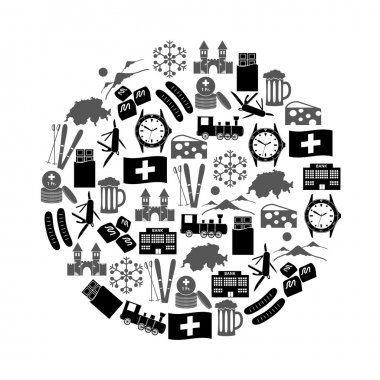 Switzerland country theme symbols icons in circle eps10